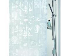 Spirella 180 x 200, Blanco colección Riff, Cortina de Ducha Textil, 100% Polyester, PVC