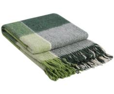 Manta de lana con franja , 65% Lana, 140 X 200cm, modelo London 5,color verde
