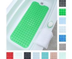 SlipX Solutions El tapete de baño extralargo agrega una tracción Antideslizante a Las tinas y duchas: ¡30% más Que Las esteras estándar! (200 Ventosas, 99 cm de Largo - Verde)