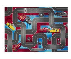 Cars 640019 Alfombra de Suelo, Terciopelo, Rojo/Gris, 133 x 95 x 1,5 cm