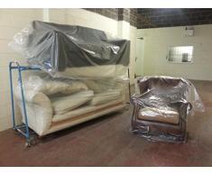 Funda elástica para sofá, sillón, para sofá, aspecto envejecido bolsa de almacenamiento, de plástico, 1 grande 1 tamaño pequeño tamaño mediano