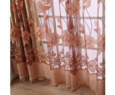 hotbesteu Cortinas Dormitorio Moderno Lujo Flores Impreso de Tul Cortina Traslúcidas Cortinas Transparentes 100x250