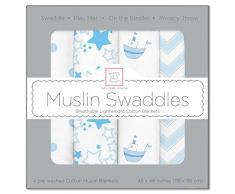 SwaddleDesigns Mantas Envolventes Muselina de Algodón, Barquitos, Azul pastel, Set de 4