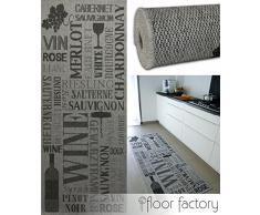 floor factory Alfombra de cocina Pinot Grigio gris 80x200 cm - alfombrilla económica para cocinas