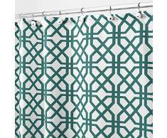 InterDesign Trellis Cortinas de baño de tela | Cortina de ducha para bañera y ducha con estampado enrejado | Cortina de baño de 183 cm x 183 cm | Poliéster verde esmeralda