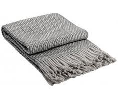 Manta de lana con franja , 80% Lana, 140 X 200cm, modelo Roma , color gris - blanco