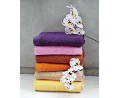 Lasa Juego Toallas, algodón 100%, Fucsia, Baño (100 x 150 cm), Lavabo y tocador