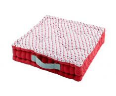 Lovely Casa Isocele cojín Suelo, algodón, Rojo, 45 x 45 x 10 cm