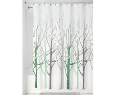 InterDesign Forest - Cortina de ducha, 183 x 183 cm, color salvia y gris topo