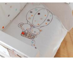 Pirulos 77211610 - Funda nórdica y funda almohadilla 120 x 150 diseño globo, color blanco y lino