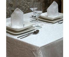 Lujo Blanco Mantel - Anti Manchas Tratamiento - Grande - Ref. Lyon, Blanco, 59 x 157 (150 x 400cm)