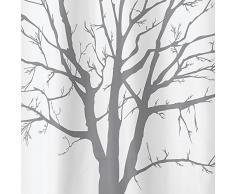 InterDesign Tree Cortina de ducha | Cortinas para baño de diseño de 183,0 cm x 183,0 cm | Cortina de baño con un genial estampado | Patrón de árbol | Poliéster gris