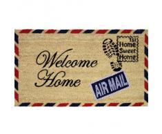 """JVL - Felpudo (fibra de coco y PVC, 40 x 70 cm), diseño de carta con texto """"Welcome Home"""""""