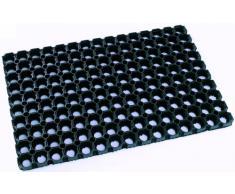 Felpudo DOMINO extremadamente robusto de 100% caucho 80 x 120 cm. Para uso exterior. 23 mm. Resistente a las heladas. De color negro.