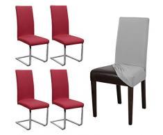 Beautex – Funda para silla Jersey, juego de 4, elástica, algodón, bielástica, color a elegir, algodón, burdeos, Onesize Stretch
