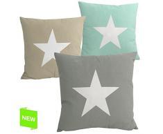 """Cojín cuadrado """"love star"""" Multicolor diseño moderna 45 x 45 cm (Verde)"""