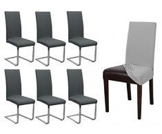 BEAUTEX - Juego de 6 fundas para silla, elásticas, de algodón jersey, bistretch, color a elegir, algodón, antracita, Onesize Stretch