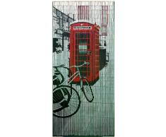 Retro Rojo Cortina de bambú), diseño de cabina de teléfonos
