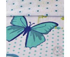 Just Contempo - Juego de funda nórdica y funda de almohada (reversible, poliéster y algodón), diseño patchwork, mezcla de algodón, azul/blanco, funda de edredón doble King size