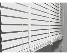 Las láminas de la persiana de madera en colour blanco de la anchura de 50 mm de longitud de piel de 170 cm, blanco, 120