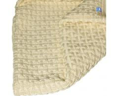 Wallaboo Eden - Manta de punto, 100% manta extrafina de lana merino, 90 x 70 cm, color vainilla