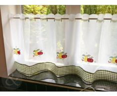 Just Contempo - Juego de cortinas para cocina (117 x 107 cm), diseño de fruta, color blanco, verde y rojo, poliéster, verde, 152 x 61 cm