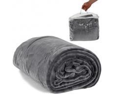 TecTake Manta polar en forro suave micro tec 220 x 240 cm con bolsa gris