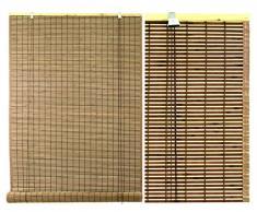 Persiana estor de lamas de bambú para ventana de interior en color nogal con remate lateral `para un mejor acabado(100 x 300)