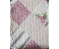 ForenTex - (L-2637) Colcha bouti reversible, (240x260cm cama 150) Estampada cocida- Rosa Palo, colcha verano, colcha barata, set de cama, ropa de cama