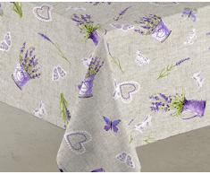 Sabanalia - Mantel de tela antimanchas Lavanda (disponible en varias medidas) - 140 x 140