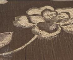 Tejido cortinas JACQUARD - forradas y Plisadas de flores marrón cortina par 228,6 cm x 137,16 cm
