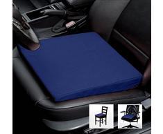 Asiento Cuña Auto asiento cojín de silla oficina silla Cojín - Tamaño: 35 cm x 35 cm x 6/1 cm, algodón, azul, 35 cm x 35 cm