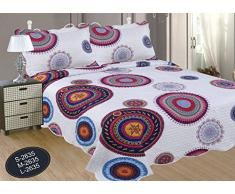 ForenTex- Colcha Boutí reversible, (S-2635), cama 90 y 105 cm, 190 x 260 cm, Estampada cosida, Mandala Granate, colcha barata, set de cama, ropa de cama. Por cada 2 colchas o mantas paga solo un envío (o colcha y manta), descuento