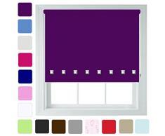 """Furnished Persiana enrollable, diseño con ojales cuadrados, diferentes colores y tamaños, recortable, berenjena, 60cm x 165cm (23.6"""" x 65"""")"""