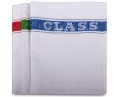 "Robert Scott - Paños de cocina (algodón, 10 unidades), diseño de palabra en inglés ""Glass"", color blanco 10 unidades."