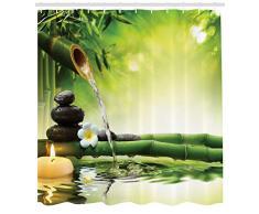 Abakuhaus SPA Cortina de Baño, Imagen Meditación Zen Tallos de Bambú Vela y Piedras de Basalto Terapia Relax, Tela Opaca Resistente al Agua y Jabón Antimoho Estampa Moderna, 175 x 200 cm