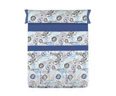 190x105x3 cm Azul y Gris Gale Hayman Style Lois Bolsillos Juego de S/ábanas Algod/ón-Poli/éster