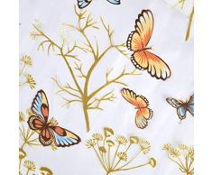 Top Finel cortina transparente de paneles para sala de estar,visillo de mariposa,140 cm anchura por 215 cm longitud,ojales,solo panel