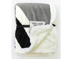 Just Contempo - Manta polar (130 x 160 cm), diseño invernal, color blanco y gris, poliéster, Union Jack Throw - Black, Cream & Grey, doble