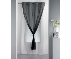 DOUCEUR DINTERIEUR 140 x 260 cm 100 por ciento poliéster cortina traslúcida con arandelas doble Uni negro/Blanc, negro/blanco