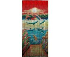 Divertido y Colorido delfines de bambú cortina de cuentas