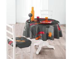 Douceur d 'Intérieur 1721748 - Mantel redondo Imprime Jaya poliéster Antracita 180 x 180 cm