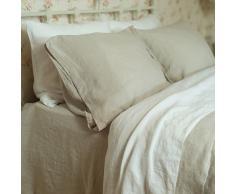 Linenme Sábana bajera (lino, aspecto lavado, 180 x 275 cm), color crema