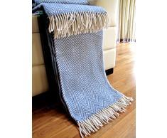 Manta de lana con franja , 80% Lana, 140 X 200cm, modelo Milano 2, color gris/azul-blanco