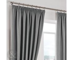 """Just Contempo Herringbone Curtains - Cortinas lisas, poliéster, plateado, Curtain Pair 46"""" x 90"""" ( traditional )"""