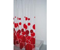 Ridder 403076 Kani - Cortina de ducha de tela (180 x 200 cm), color blanco y rojo