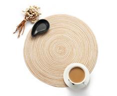 Diadia - Manteles individuales redondos de colores trenzados, resistentes al calor, antideslizantes, lavables, 35 cm beige