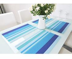 Alta calidad diseño de rayas PVC aislamiento comedor placemat- comedor manteles individuales para mesa calor aislamiento resistente a las manchas estilo sencillo comer estera - juego de 4