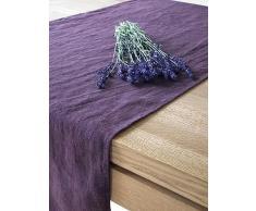 Linenme 1 unidad. Camino de mesa Lara de lino. Color berenjena 50 x 140 cm.