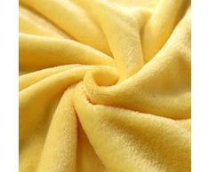 Manta de Franela, K-youth® Manta de Sofá Microfibra 100% Micro Felpa, Suave, Cálida para Adultos y Niños 50x70cm (Amarillo)